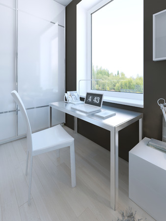 glossy: White colored furniture in hgh-tech bedroom. 3D render