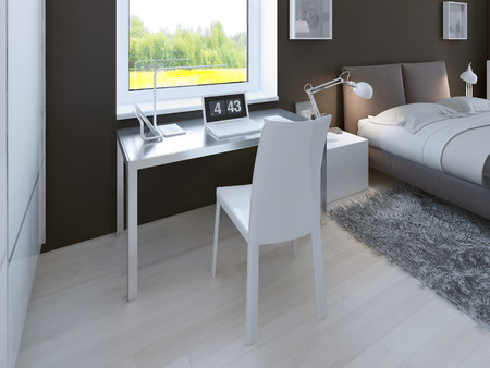linoleum: Working area in minimalist bedroom. table with chair in light aluminium color near window. 3D render
