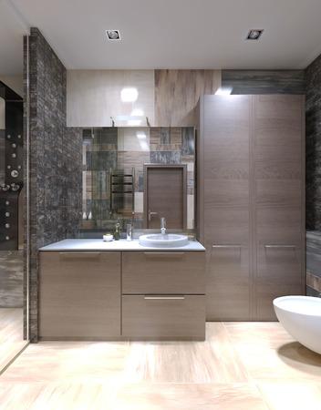 cabine de douche: meubles brun clair dans la salle étrange. Haut plafond avec des lampes halogènes, carrelage mixte sur les murs et une douche séparée avec porte en verre. 3D render