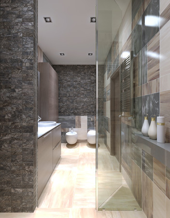 shower stall: Contemporary bathroom design with using of small tiles on walls, view from the shower stall. 3D render