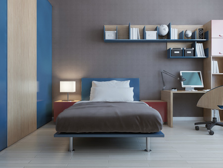 blue grey: Teenager bedroom interior with blue and red decor and grey walls. 3D render