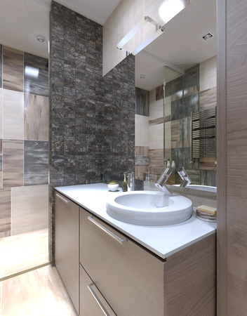 bathroom design: Console with sink in the bathroom in minimalist style. White acrylic countertop. 3D render