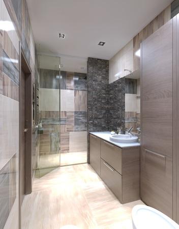cabine de douche: Salle de bains de style moderne. Murs de tuiles mixtes, un mobilier marron clair, armoire avec comptoir blanc brillant. 3D render