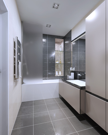 Matt Furniture, Shower Combined With A Bath. Mixed Wet Asphalt