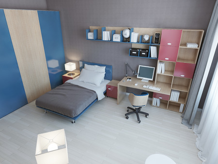 work area: Idea of children modern bedroom. Multi colored furniture in blue and red colors, single bed, work area and large closet. 3D render