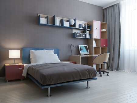 3d bedroom: Minimalist wall system in modern bedroom. 3D render Stock Photo