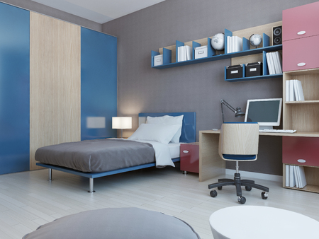 View of teenagers bedroom in red and blue colors. Light grey wall and light laminate flooring. 3D render