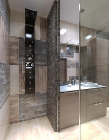 ceramica: Ducha minimalista separado del cuarto de baño. 3D render