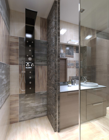 ceramiki: Minimalistyczny prysznic oddzielone od łazienki. 3D render Zdjęcie Seryjne