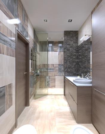 AuBergewohnlich #46425725   Großes Bad Modern Eingerichtet. Eines Der Ungewöhnlichsten  Lösungen, Die Fliesen An Den Wänden Zu Vermischen. 3D übertragen