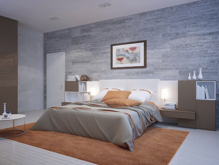 Orange bedroom art deco style. Masonry wallpaper on walls, thick pile orange carpet under dressed double bed with pillows. 3D render