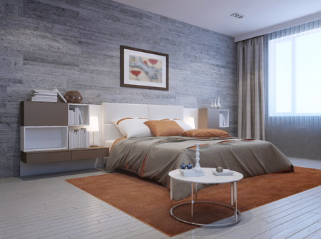 View of modern bedroom interior. Luxury double bed with white headboard and furniture mounted on both sides in white and taupe colors. 3D render Stockfoto