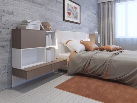Idee van minimalistische slaapkamer in privé huis. ongewone ronde