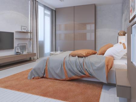 Hotem bedroom interior with decorative plastered walls. 3D render Stok Fotoğraf