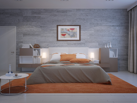 Front view on cozy bedroom with masonry wallpaper and orange decoration. 3D render