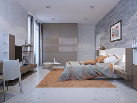 Bedroom art deco style in grey colors with orange accents. Floor to ceiling closet with glossy sliding doors. 3D render Archivio Fotografico