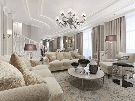eclecticism: Luxury studio interior. 3d render