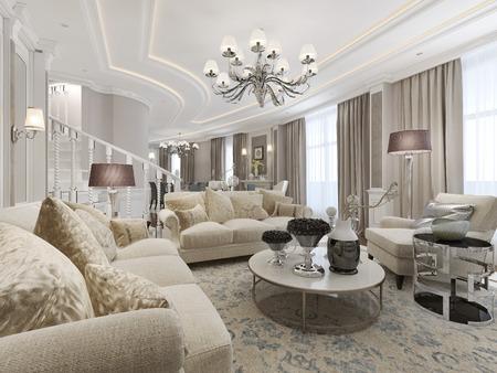 Luxury studio interior. 3d render