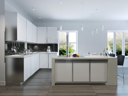 Modern design kitchen interior.3d render Stok Fotoğraf