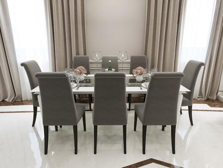 desayuno romantico: Spasious dining room classic style. 3d render Foto de archivo