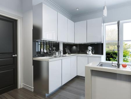 3d render: Modern kitchen-bar. 3d render