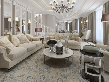 sconces: Classic style living room design. 3d render