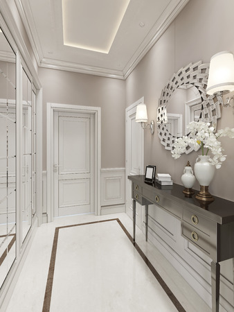 wood molding: Bright Hallway Art Deco style.3D render Stock Photo