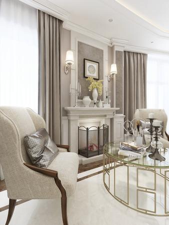 pilasters: Luxury fireplace area. 3d model