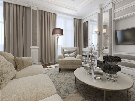 eclecticism: Luxury living room interior. 3d render Stock Photo