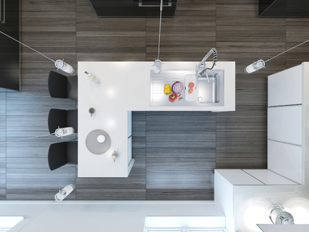 kitchen island: Top view modern kitchen bar. 3D render