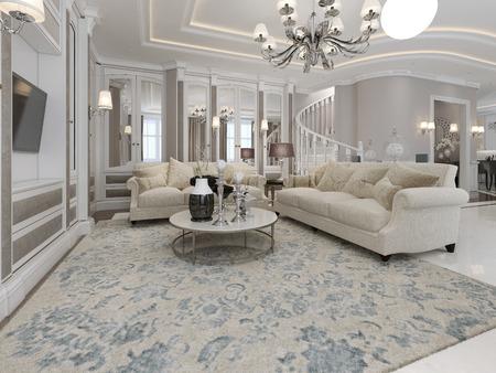 넓고 고급스러운 거실. 3d 렌더링 스톡 콘텐츠