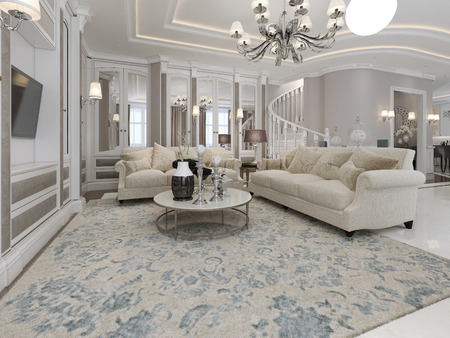 chandeliers: Spacious and luxury living room. 3d render