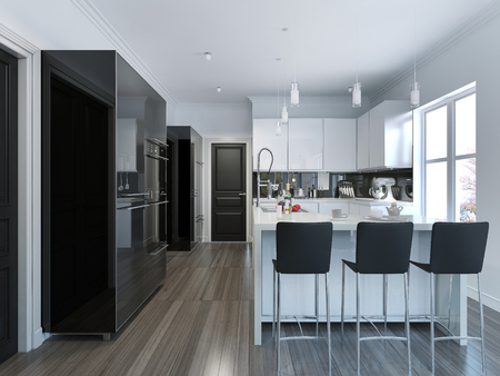 contemporary kitchen: Contemporary style kitchen bar. 3D render