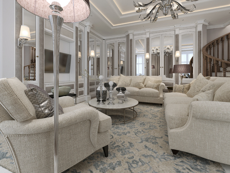 classic living room: Luxury living room classic style. 3d render Stock Photo