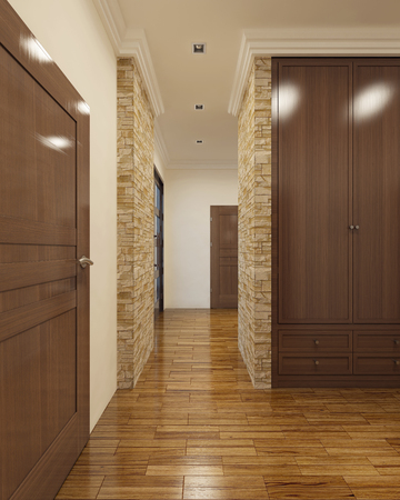 ceiling tile: Contemporary hallway with rear doors. 3D render