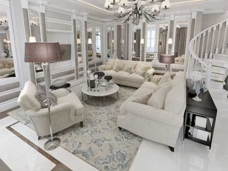 pilasters: Living room classic style. 3d render