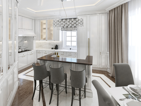 fittings: Kitchen-dining room art deco style. 3d render