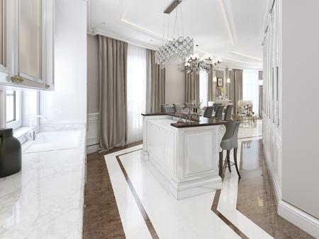 eclecticism: Art deco style kitchen. 3d render