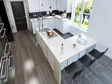 contemporary kitchen: Contemporary style kitchen. 3d render