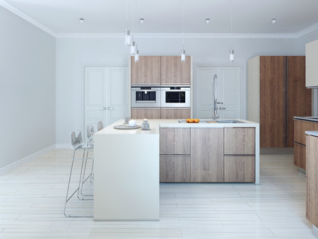 Minimalism style kitchen. 3d render