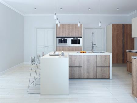 Minimalism style kitchen. 3d render