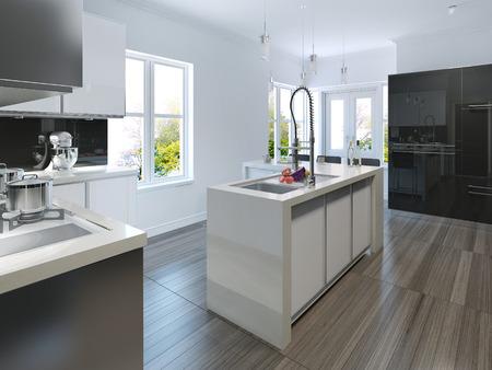 cucina moderna: Cucina in stile moderno. Rendering 3D