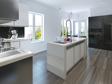 kitchen furniture: Kitchen in modern style. 3d render