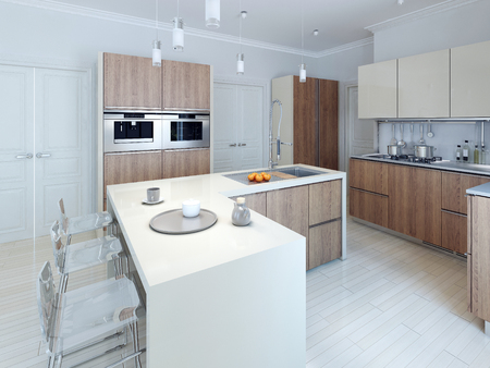 Modern Functional Kitchen Design. 3d Render Stock Photo, Picture And  Royalty Free Image. Image 46426544.