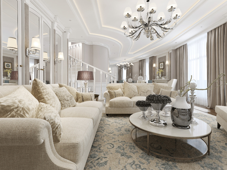 eclecticism: Living room classic style. 3d render