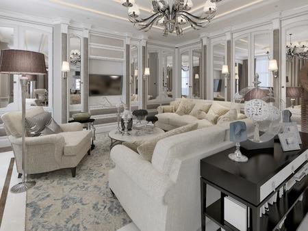 pilasters: Art deco style living room. 3d render