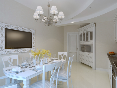 dining room interior: Luxury dining room interior. 3d render Stock Photo