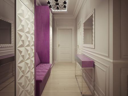 wood molding: Luxury corridor design. 3d render
