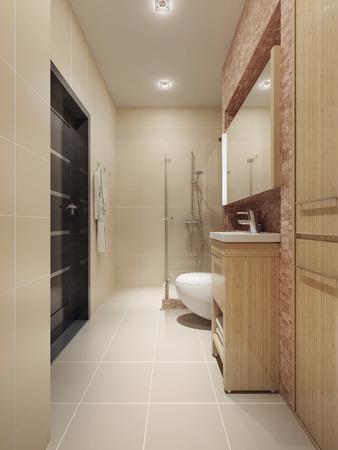 cabine de douche: Intérieur salle de bains spacieuse. 3d render