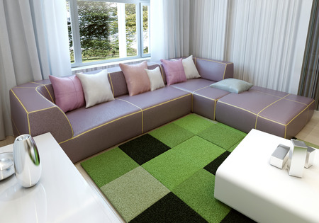 living room sofa: Cozy living room interior. 3d render